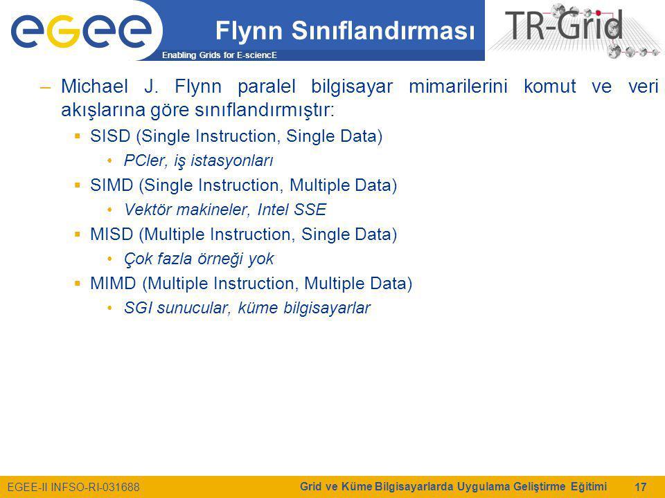 Enabling Grids for E-sciencE EGEE-II INFSO-RI-031688 Grid ve Küme Bilgisayarlarda Uygulama Geliştirme Eğitimi 17 Flynn Sınıflandırması –Michael J. Fly