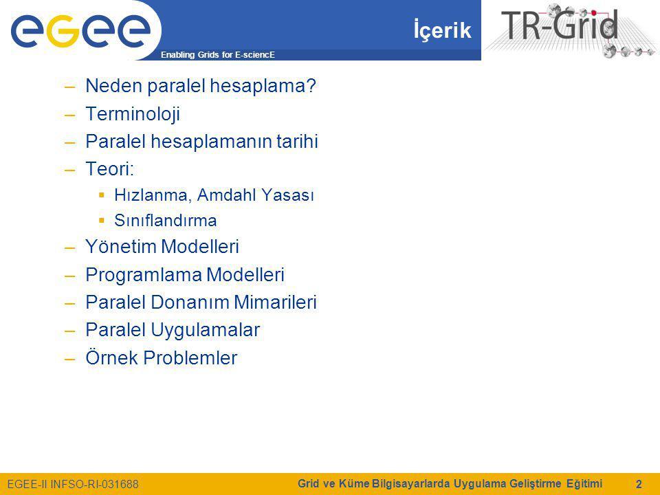 Enabling Grids for E-sciencE EGEE-II INFSO-RI-031688 Grid ve Küme Bilgisayarlarda Uygulama Geliştirme Eğitimi 2 İçerik –Neden paralel hesaplama? –Term