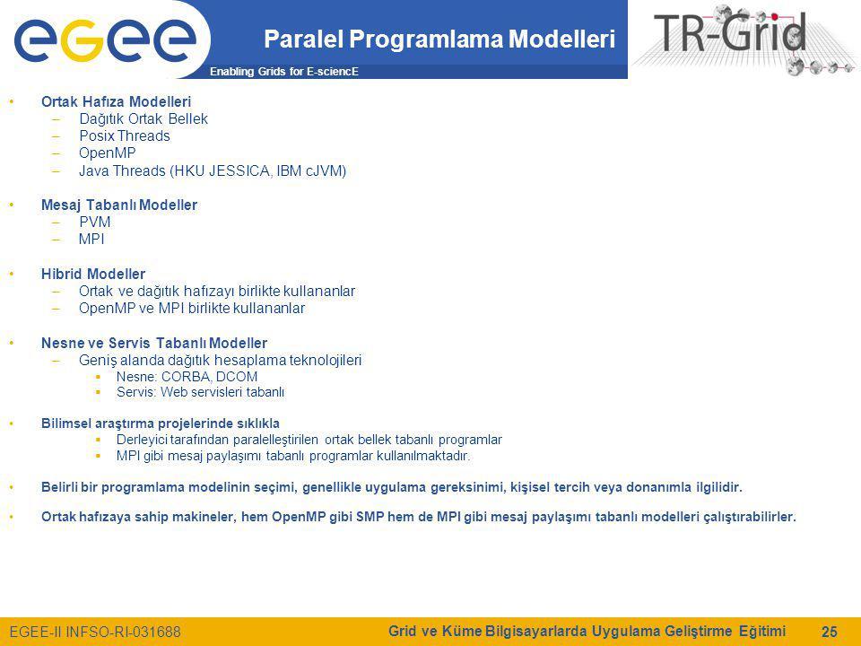 Enabling Grids for E-sciencE EGEE-II INFSO-RI-031688 Grid ve Küme Bilgisayarlarda Uygulama Geliştirme Eğitimi 25 Paralel Programlama Modelleri Ortak H