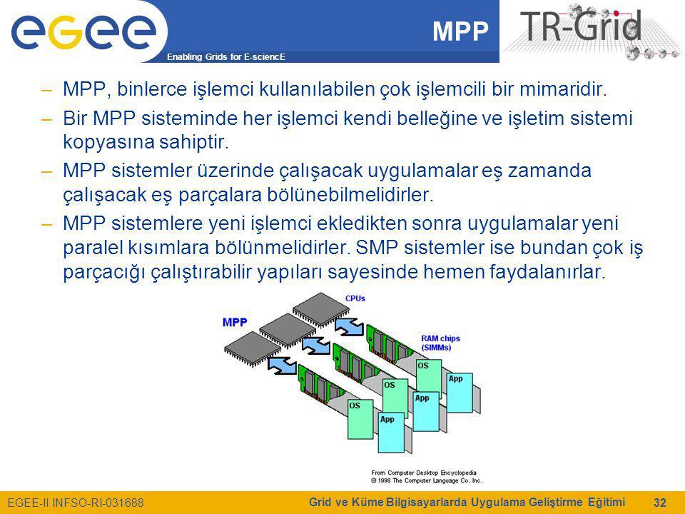 Enabling Grids for E-sciencE EGEE-II INFSO-RI-031688 Grid ve Küme Bilgisayarlarda Uygulama Geliştirme Eğitimi 32 MPP –MPP, binlerce işlemci kullanılab