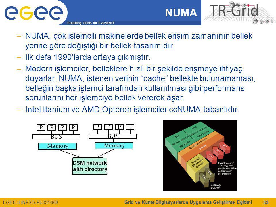 Enabling Grids for E-sciencE EGEE-II INFSO-RI-031688 Grid ve Küme Bilgisayarlarda Uygulama Geliştirme Eğitimi 33 NUMA –NUMA, çok işlemcili makinelerde bellek erişim zamanının bellek yerine göre değiştiği bir bellek tasarımıdır.