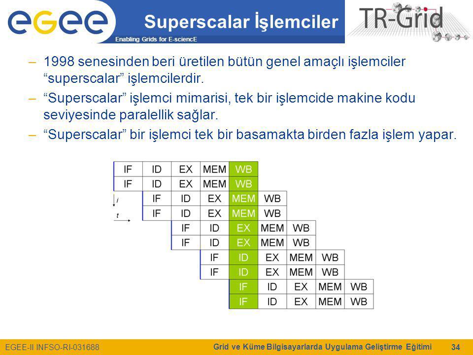 Enabling Grids for E-sciencE EGEE-II INFSO-RI-031688 Grid ve Küme Bilgisayarlarda Uygulama Geliştirme Eğitimi 34 Superscalar İşlemciler –1998 senesinden beri üretilen bütün genel amaçlı işlemciler superscalar işlemcilerdir.