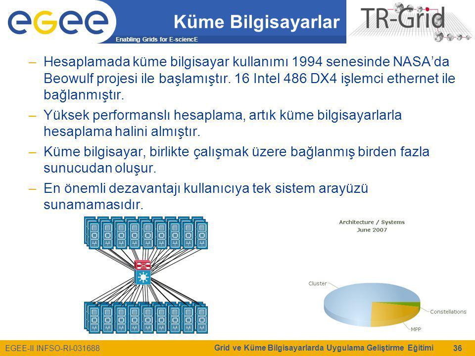 Enabling Grids for E-sciencE EGEE-II INFSO-RI-031688 Grid ve Küme Bilgisayarlarda Uygulama Geliştirme Eğitimi 36 Küme Bilgisayarlar –Hesaplamada küme