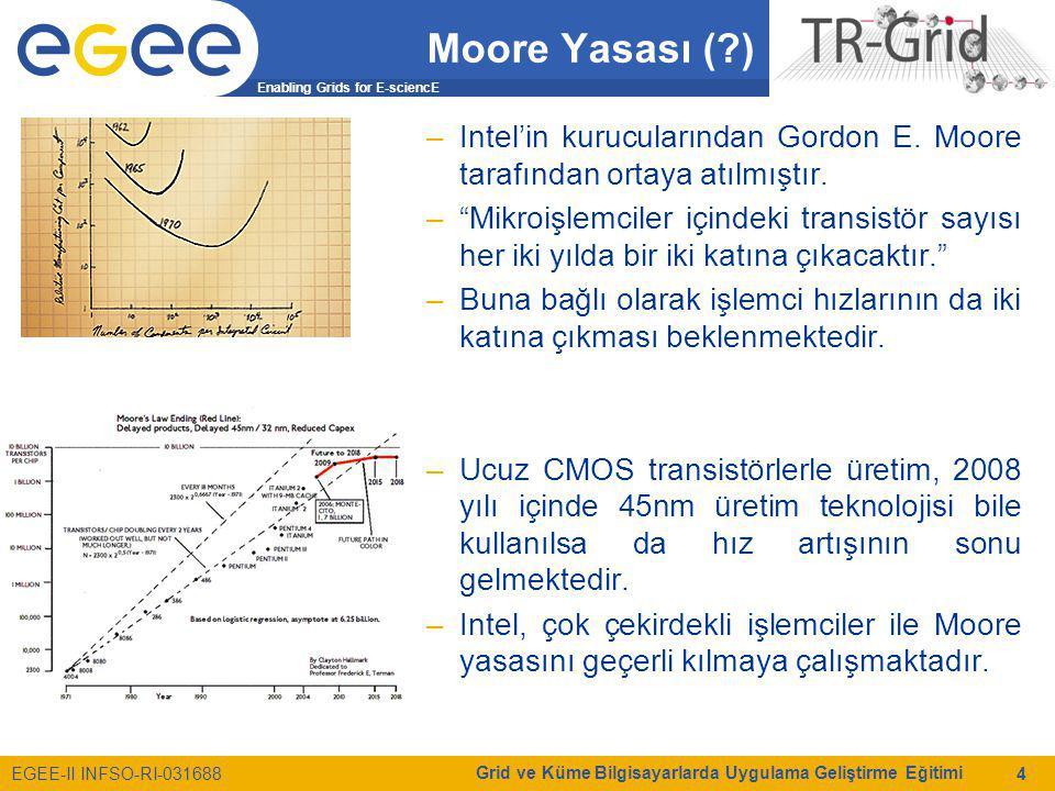 Enabling Grids for E-sciencE EGEE-II INFSO-RI-031688 Grid ve Küme Bilgisayarlarda Uygulama Geliştirme Eğitimi 25 Paralel Programlama Modelleri Ortak Hafıza Modelleri –Dağıtık Ortak Bellek –Posix Threads –OpenMP –Java Threads (HKU JESSICA, IBM cJVM) Mesaj Tabanlı Modeller –PVM –MPI Hibrid Modeller –Ortak ve dağıtık hafızayı birlikte kullananlar –OpenMP ve MPI birlikte kullananlar Nesne ve Servis Tabanlı Modeller –Geniş alanda dağıtık hesaplama teknolojileri  Nesne: CORBA, DCOM  Servis: Web servisleri tabanlı Bilimsel araştırma projelerinde sıklıkla  Derleyici tarafından paralelleştirilen ortak bellek tabanlı programlar  MPI gibi mesaj paylaşımı tabanlı programlar kullanılmaktadır.