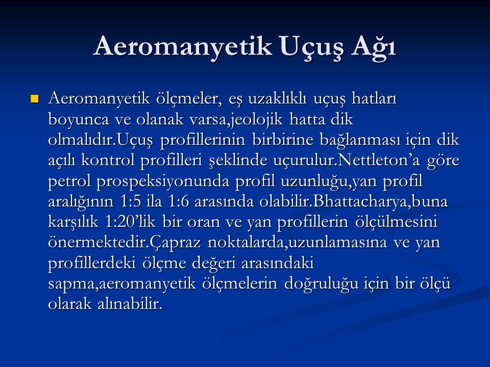 Aeromanyetik Uçuş Ağı Aeromanyetik ölçmeler, eş uzaklıklı uçuş hatları boyunca ve olanak varsa,jeolojik hatta dik olmalıdır.Uçuş profillerinin birbirine bağlanması için dik açılı kontrol profilleri şeklinde uçurulur.Nettleton'a göre petrol prospeksiyonunda profil uzunluğu,yan profil aralığının 1:5 ila 1:6 arasında olabilir.Bhattacharya,buna karşılık 1:20'lik bir oran ve yan profillerin ölçülmesini önermektedir.Çapraz noktalarda,uzunlamasına ve yan profillerdeki ölçme değeri arasındaki sapma,aeromanyetik ölçmelerin doğruluğu için bir ölçü olarak alınabilir.