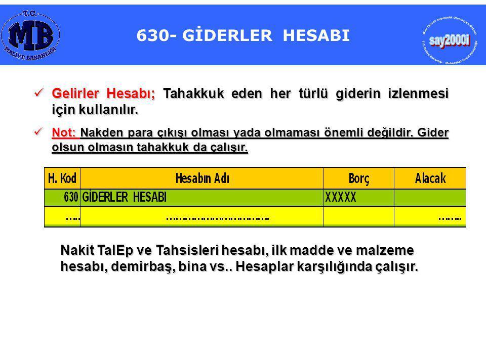 810- BÜTÇE GELİRLERİNDEN RET VE İADELER HESABI 630- GİDERLER HESABI Gelirler Hesabı; Tahakkuk eden her türlü giderin izlenmesi için kullanılır.