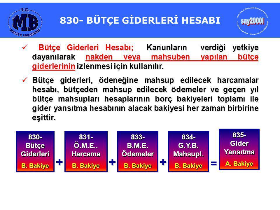 830- BÜTÇE GİDERLERİ HESABI Bütçe Giderleri Hesabı; Kanunların verdiği yetkiye dayanılarak nakden veya mahsuben yapılan bütçe giderlerinin izlenmesi için kullanılır.