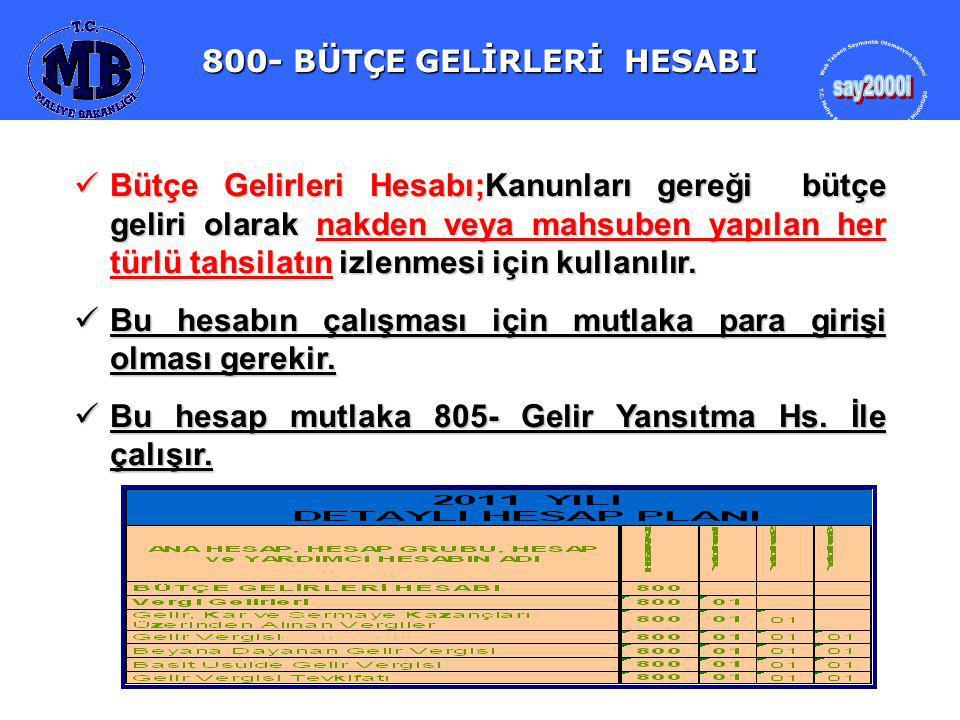 800- BÜTÇE GELİRLERİ HESABI Bütçe Gelirleri Hesabı;Kanunları gereği bütçe geliri olarak nakden veya mahsuben yapılan her türlü tahsilatın izlenmesi için kullanılır.