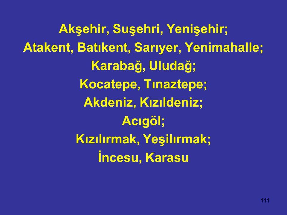 111 Akşehir, Suşehri, Yenişehir; Atakent, Batıkent, Sarıyer, Yenimahalle; Karabağ, Uludağ; Kocatepe, Tınaztepe; Akdeniz, Kızıldeniz; Acıgöl; Kızılırmak, Yeşilırmak; İncesu, Karasu