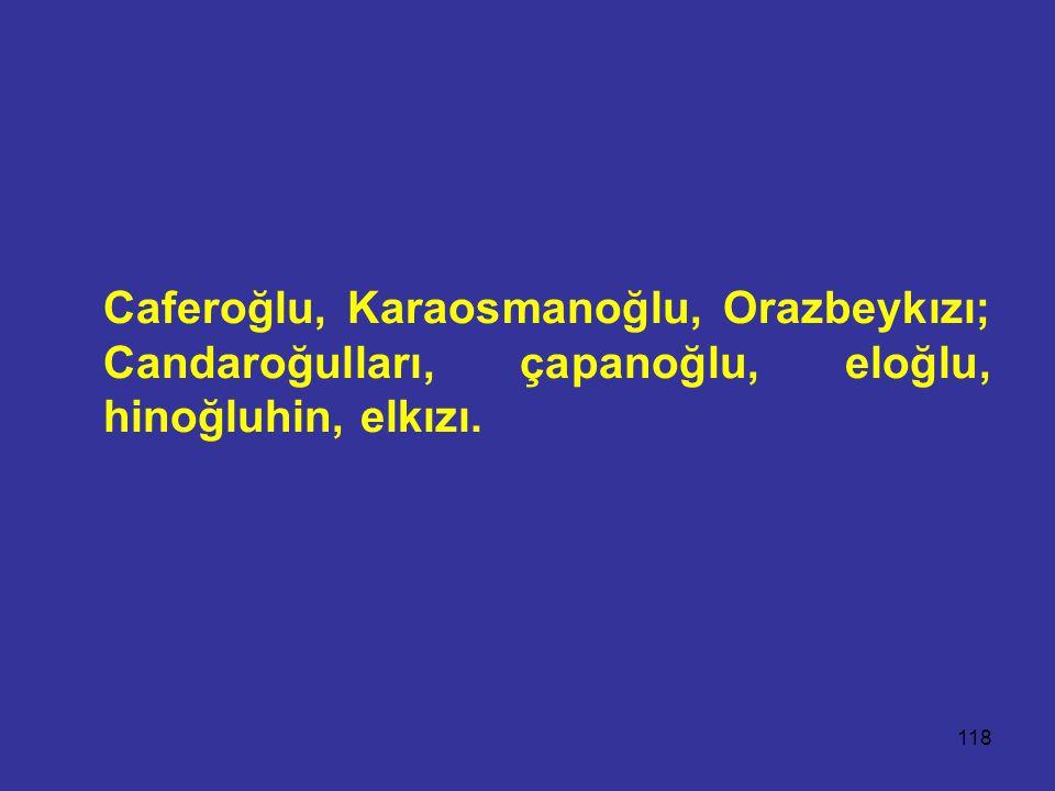 118 Caferoğlu, Karaosmanoğlu, Orazbeykızı; Candaroğulları, çapanoğlu, eloğlu, hinoğluhin, elkızı.