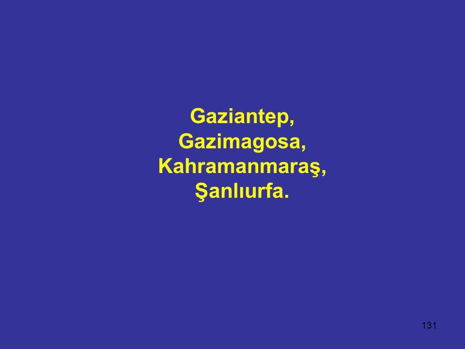 131 Gaziantep, Gazimagosa, Kahramanmaraş, Şanlıurfa.