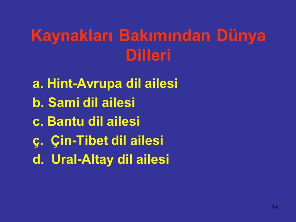 14 Kaynakları Bakımından Dünya Dilleri a. Hint-Avrupa dil ailesi b. Sami dil ailesi c. Bantu dil ailesi ç. Çin-Tibet dil ailesi d. Ural-Altay dil aile