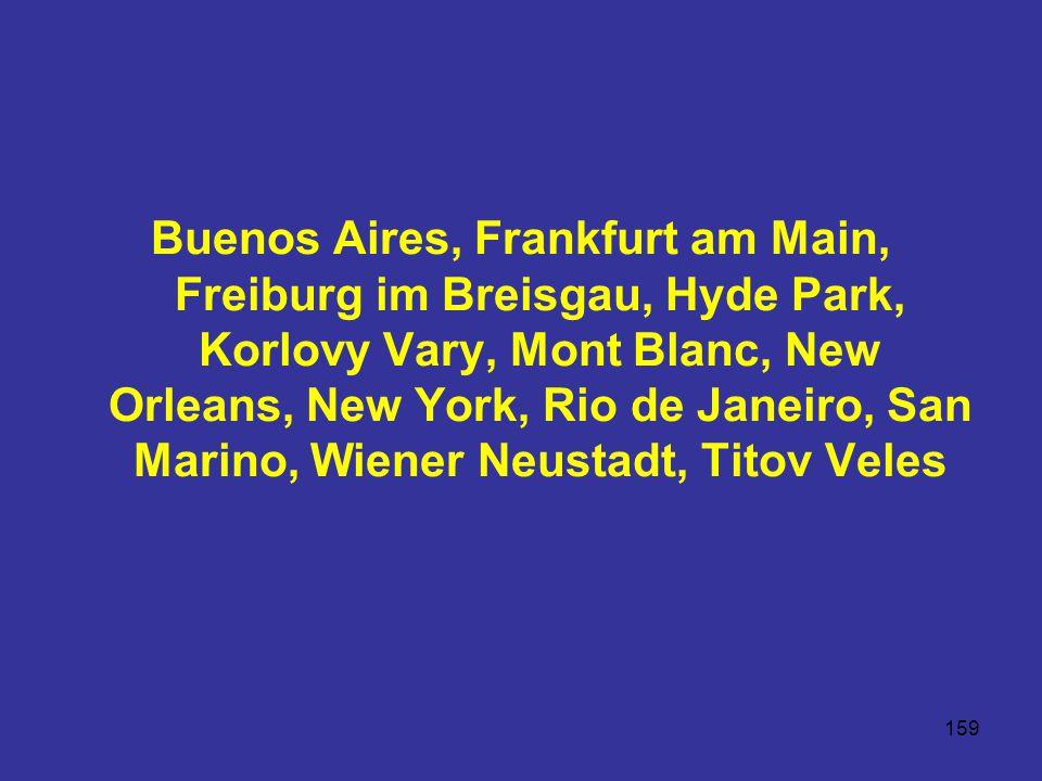 159 Buenos Aires, Frankfurt am Main, Freiburg im Breisgau, Hyde Park, Korlovy Vary, Mont Blanc, New Orleans, New York, Rio de Janeiro, San Marino, Wiener Neustadt, Titov Veles