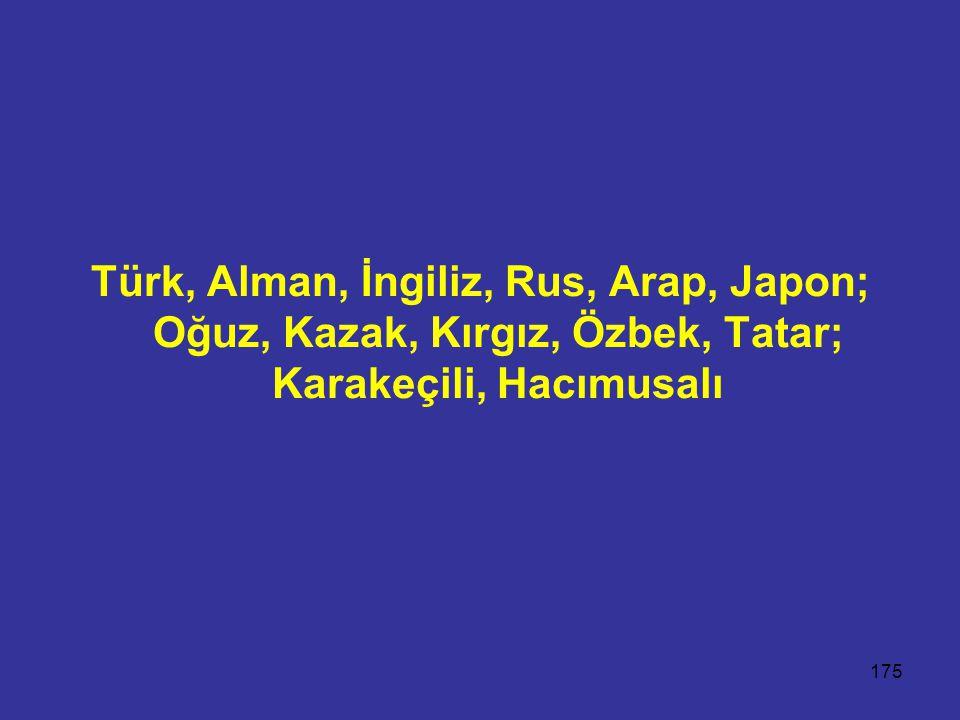 175 Türk, Alman, İngiliz, Rus, Arap, Japon; Oğuz, Kazak, Kırgız, Özbek, Tatar; Karakeçili, Hacımusalı
