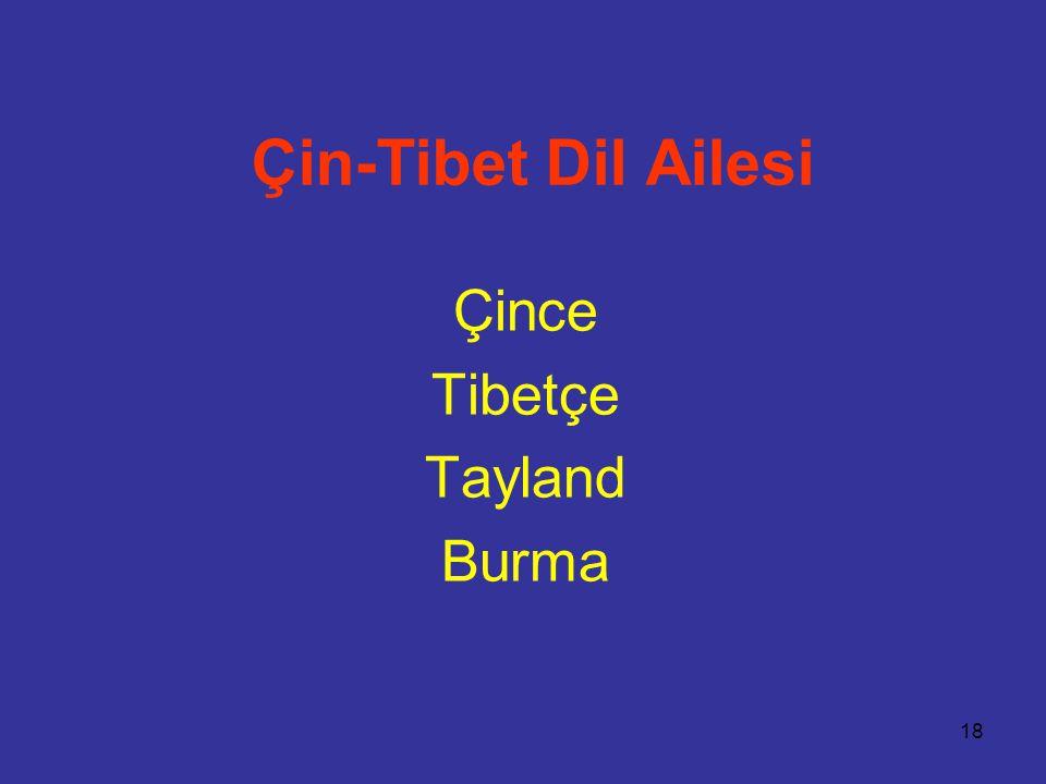 18 Çin-Tibet Dil Ailesi Çince Tibetçe Tayland Burma