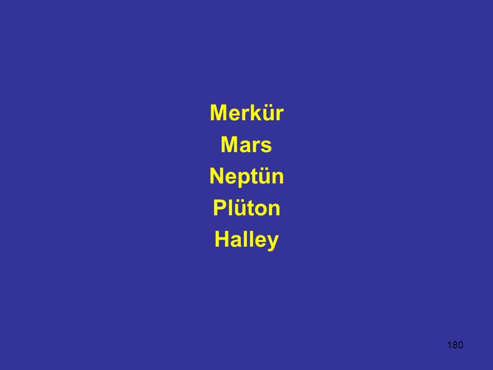 180 Merkür Mars Neptün Plüton Halley