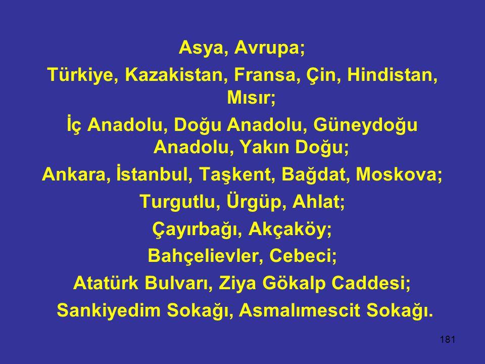 181 Asya, Avrupa; Türkiye, Kazakistan, Fransa, Çin, Hindistan, Mısır; İç Anadolu, Doğu Anadolu, Güneydoğu Anadolu, Yakın Doğu; Ankara, İstanbul, Taşke