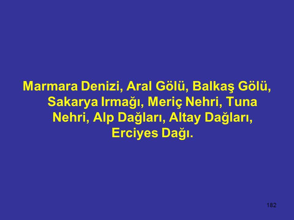 182 Marmara Denizi, Aral Gölü, Balkaş Gölü, Sakarya Irmağı, Meriç Nehri, Tuna Nehri, Alp Dağları, Altay Dağları, Erciyes Dağı.