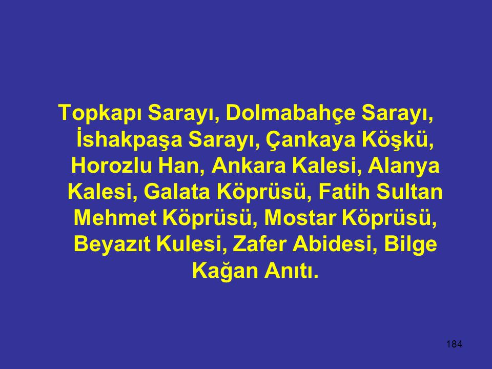 184 Topkapı Sarayı, Dolmabahçe Sarayı, İshakpaşa Sarayı, Çankaya Köşkü, Horozlu Han, Ankara Kalesi, Alanya Kalesi, Galata Köprüsü, Fatih Sultan Mehmet