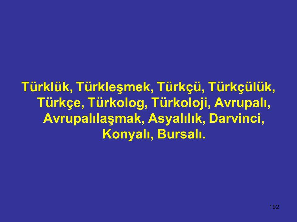 192 Türklük, Türkleşmek, Türkçü, Türkçülük, Türkçe, Türkolog, Türkoloji, Avrupalı, Avrupalılaşmak, Asyalılık, Darvinci, Konyalı, Bursalı.