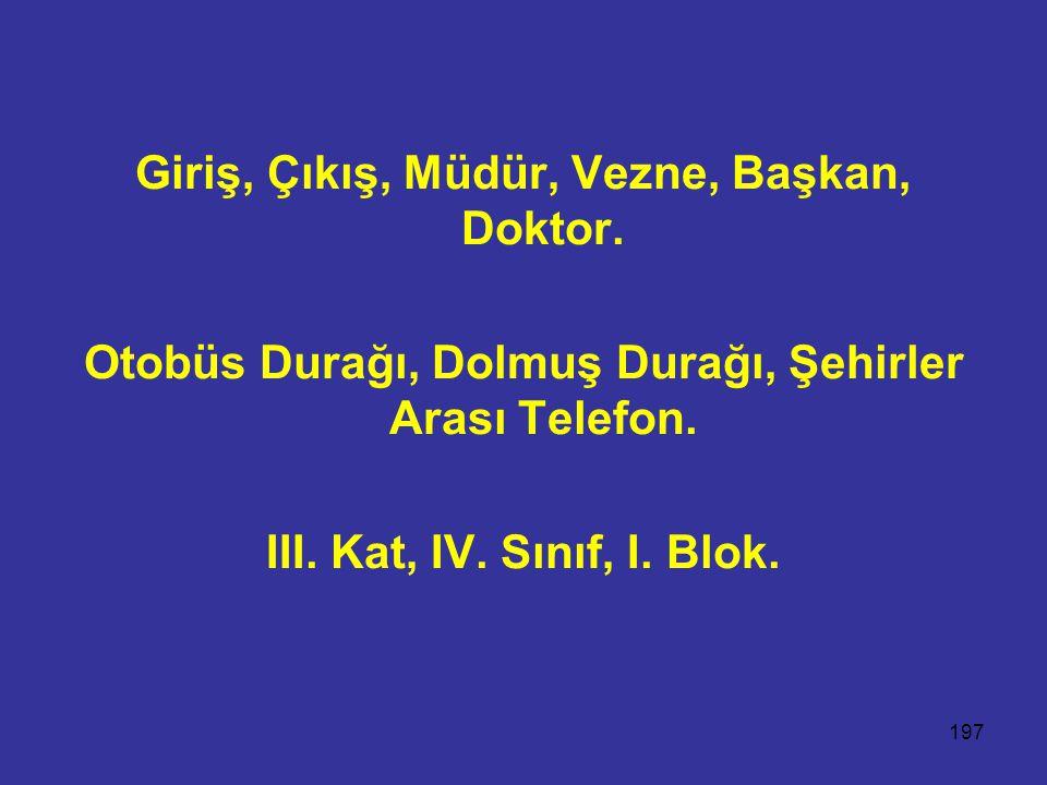 197 Giriş, Çıkış, Müdür, Vezne, Başkan, Doktor. Otobüs Durağı, Dolmuş Durağı, Şehirler Arası Telefon. III. Kat, IV. Sınıf, I. Blok.