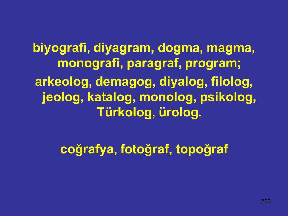 205 biyografi, diyagram, dogma, magma, monografi, paragraf, program; arkeolog, demagog, diyalog, filolog, jeolog, katalog, monolog, psikolog, Türkolog, ürolog.