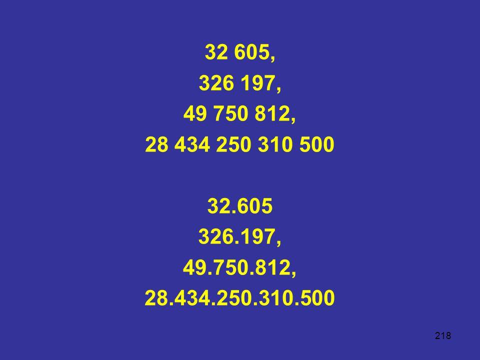 218 32 605, 326 197, 49 750 812, 28 434 250 310 500 32.605 326.197, 49.750.812, 28.434.250.310.500