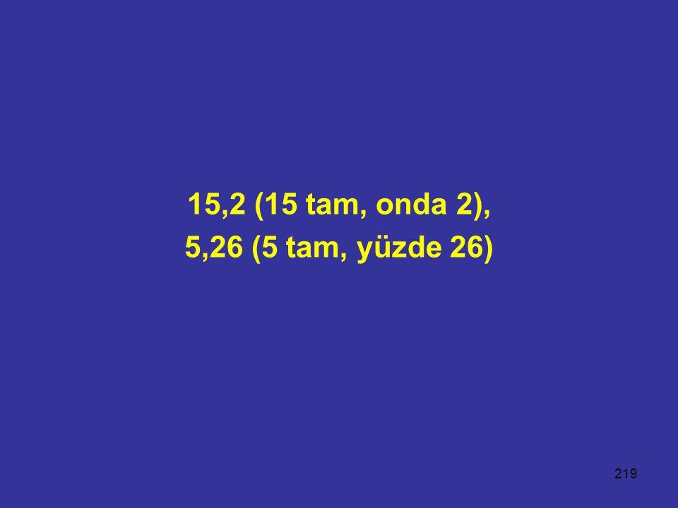 219 15,2 (15 tam, onda 2), 5,26 (5 tam, yüzde 26)
