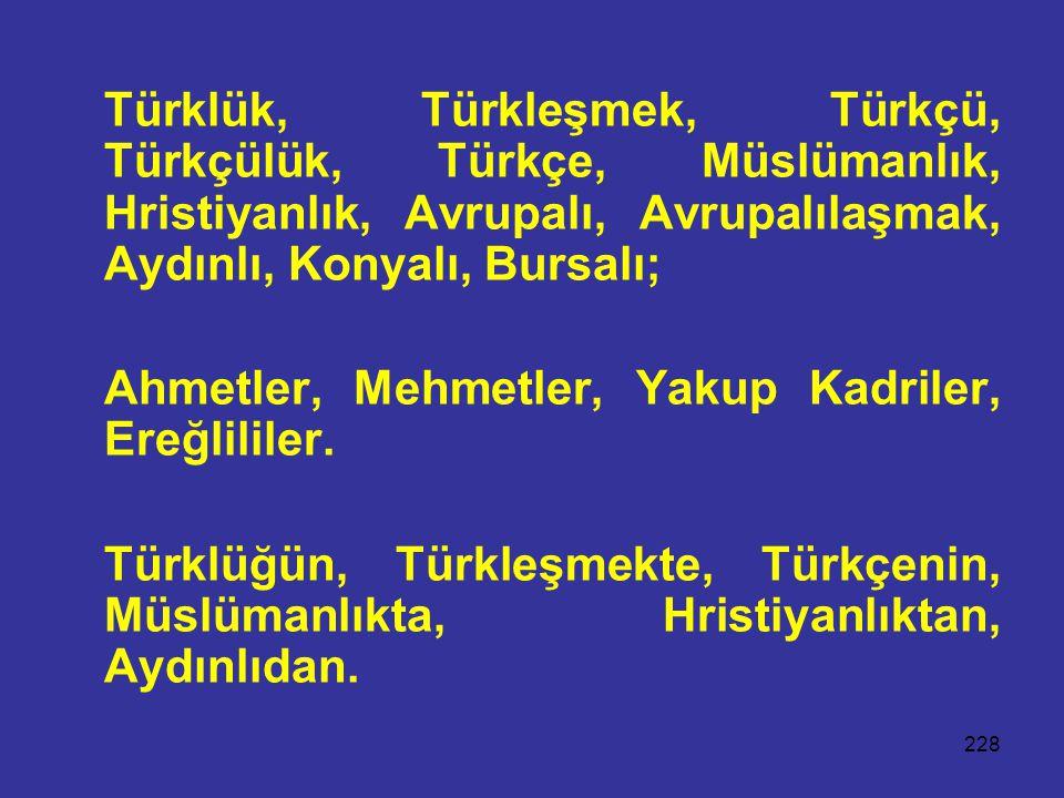 228 Türklük, Türkleşmek, Türkçü, Türkçülük, Türkçe, Müslümanlık, Hristiyanlık, Avrupalı, Avrupalılaşmak, Aydınlı, Konyalı, Bursalı; Ahmetler, Mehmetler, Yakup Kadriler, Ereğlililer.