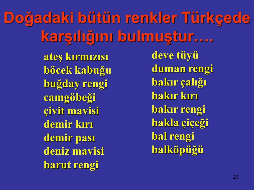 25 Doğadaki bütün renkler Türkçede karşılığını bulmuştur….