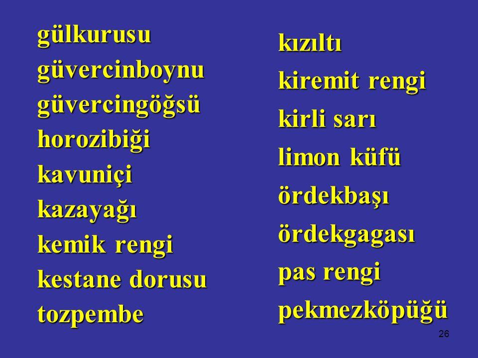 26 gülkurusugüvercinboynugüvercingöğsühorozibiğikavuniçikazayağı kemik rengi kestane dorusu tozpembe kızıltı kiremit rengi kirli sarı limon küfü ördekbaşıördekgagası pas rengi pekmezköpüğü