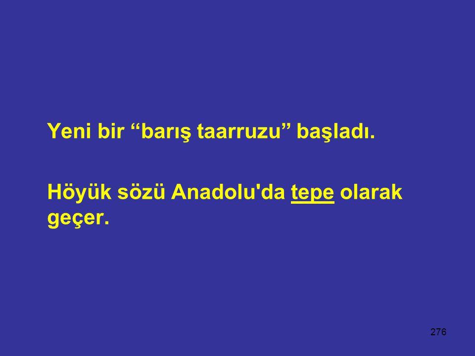 """276 Yeni bir """"barış taarruzu"""" başladı. Höyük sözü Anadolu'da tepe olarak geçer."""