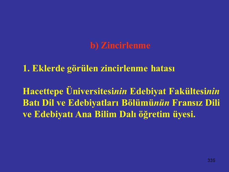 335 b) Zincirlenme 1. Eklerde görülen zincirlenme hatası Hacettepe Üniversitesinin Edebiyat Fakültesinin Batı Dil ve Edebiyatları Bölümünün Fransız Di