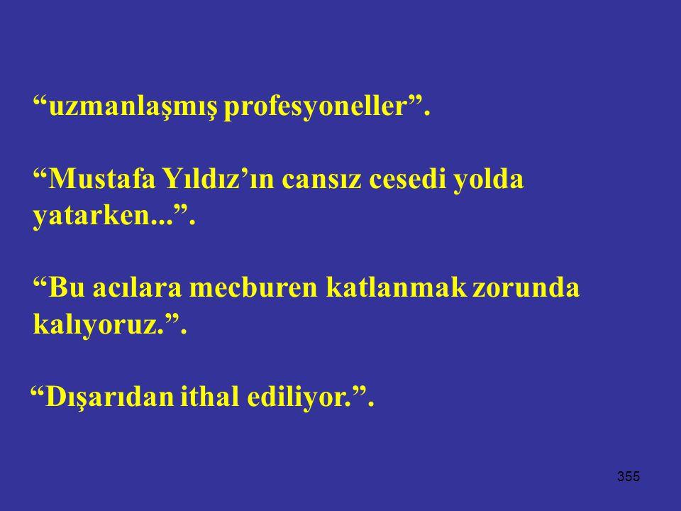 """355 """"uzmanlaşmış profesyoneller"""". """"Mustafa Yıldız'ın cansız cesedi yolda yatarken..."""". """"Bu acılara mecburen katlanmak zorunda kalıyoruz."""". """"Dışarıdan"""