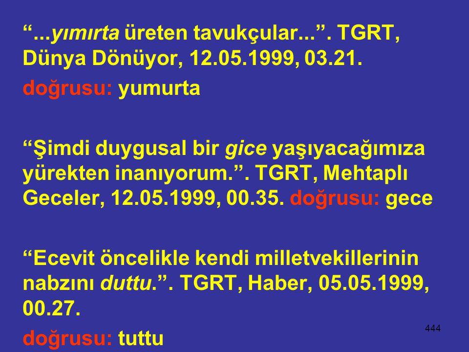 444 ...yımırta üreten tavukçular... .TGRT, Dünya Dönüyor, 12.05.1999, 03.21.
