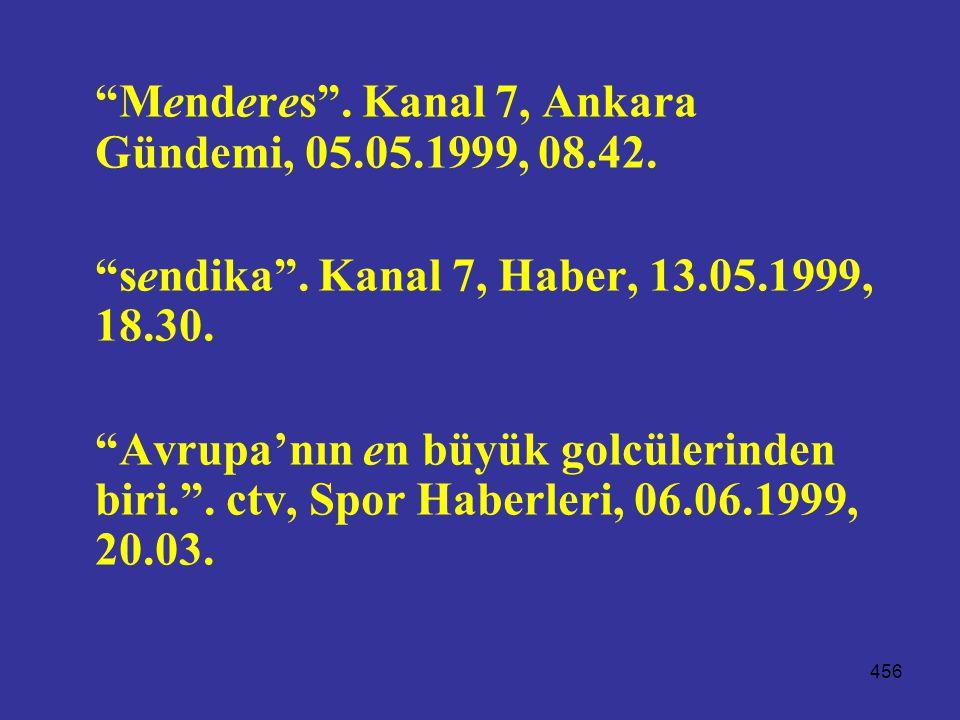 """456 """"Menderes"""". Kanal 7, Ankara Gündemi, 05.05.1999, 08.42. """"sendika"""". Kanal 7, Haber, 13.05.1999, 18.30. """"Avrupa'nın en büyük golcülerinden biri."""". c"""