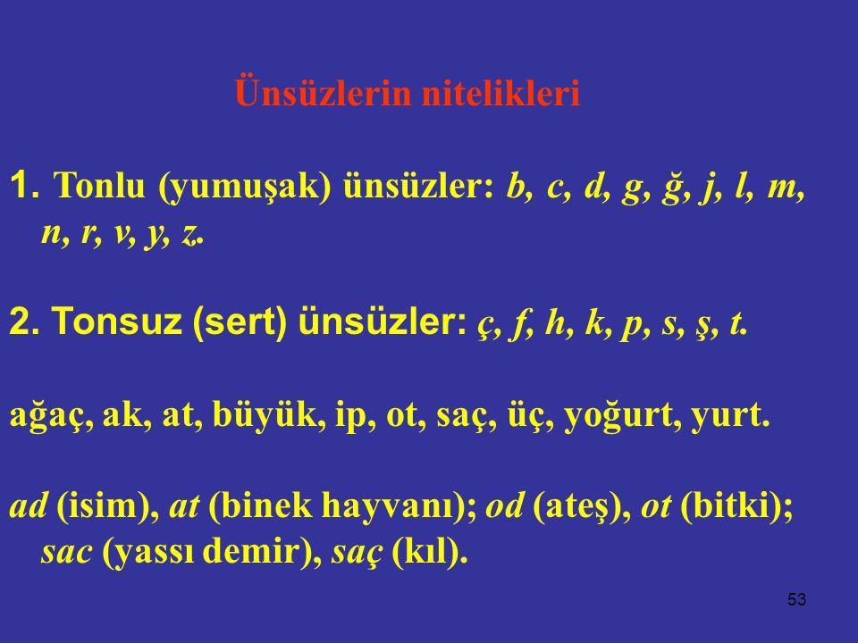 53 Ünsüzlerin nitelikleri 1. Tonlu (yumuşak) ünsüzler: b, c, d, g, ğ, j, l, m, n, r, v, y, z. 2. Tonsuz (sert) ünsüzler: ç, f, h, k, p, s, ş, t. ağaç,