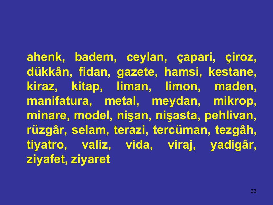 63 ahenk, badem, ceylan, çapari, çiroz, dükkân, fidan, gazete, hamsi, kestane, kiraz, kitap, liman, limon, maden, manifatura, metal, meydan, mikrop, minare, model, nişan, nişasta, pehlivan, rüzgâr, selam, terazi, tercüman, tezgâh, tiyatro, valiz, vida, viraj, yadigâr, ziyafet, ziyaret