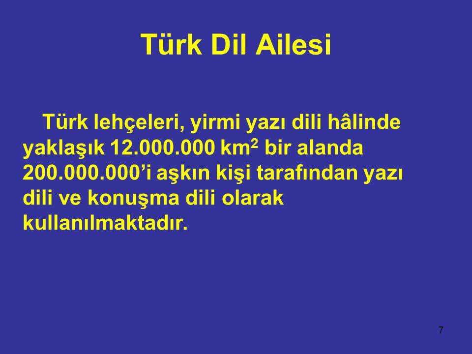 7 Türk Dil Ailesi Türk lehçeleri, yirmi yazı dili hâlinde yaklaşık 12.000.000 km 2 bir alanda 200.000.000'i aşkın kişi tarafından yazı dili ve konuşma