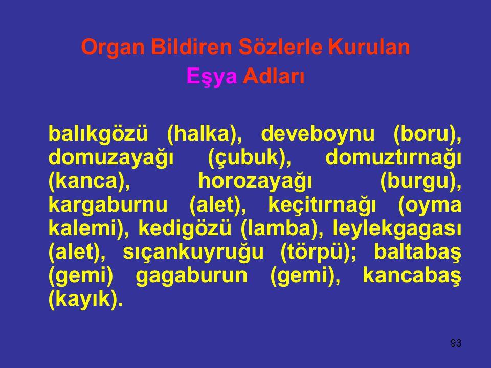93 Organ Bildiren Sözlerle Kurulan Eşya Adları balıkgözü (halka), deveboynu (boru), domuzayağı (çubuk), domuztırnağı (kanca), horozayağı (burgu), karg