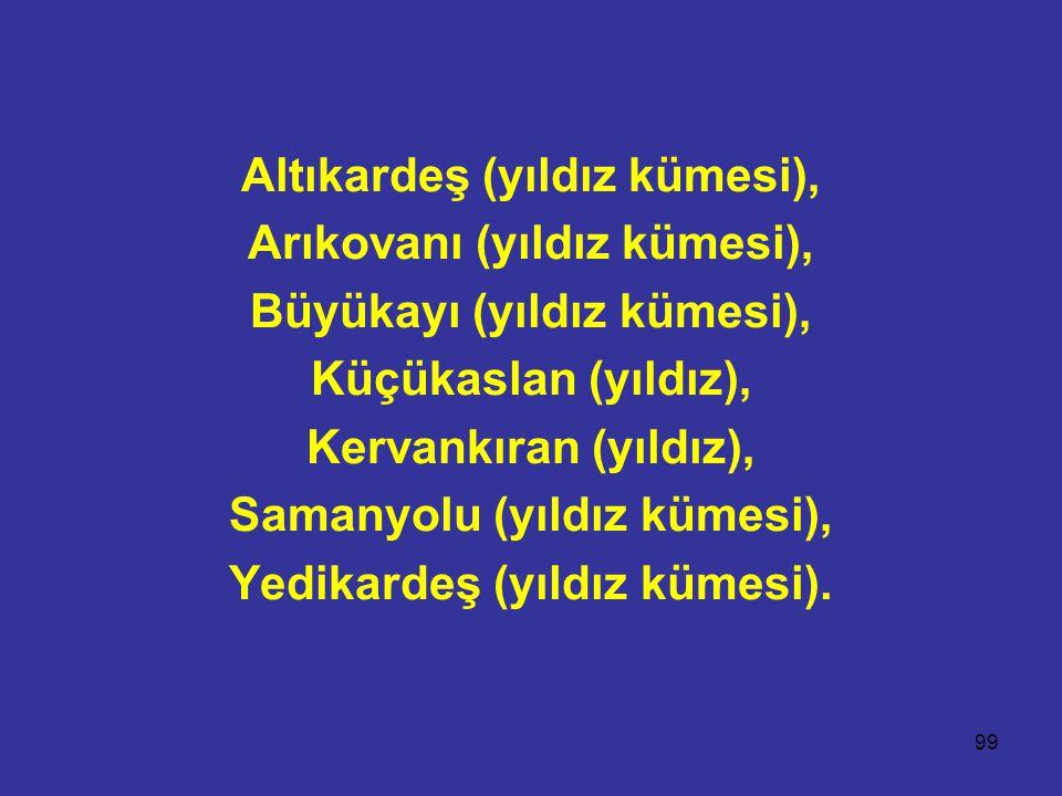 99 Altıkardeş (yıldız kümesi), Arıkovanı (yıldız kümesi), Büyükayı (yıldız kümesi), Küçükaslan (yıldız), Kervankıran (yıldız), Samanyolu (yıldız kümesi), Yedikardeş (yıldız kümesi).