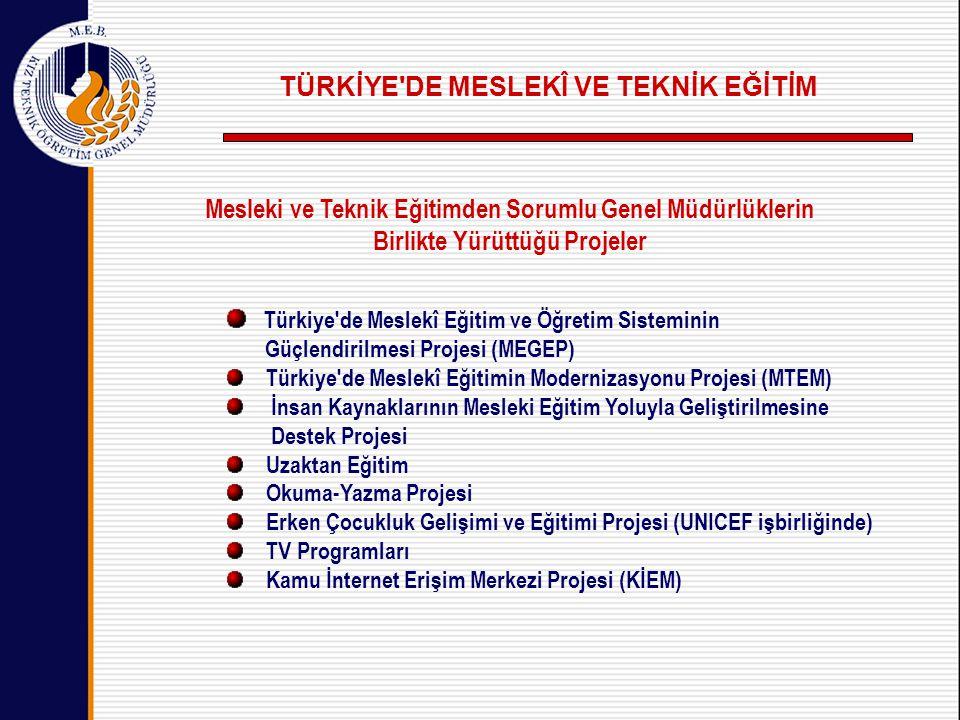 Mesleki ve Teknik Eğitimden Sorumlu Genel Müdürlüklerin Birlikte Yürüttüğü Projeler Türkiye de Meslekî Eğitim ve Öğretim Sisteminin Güçlendirilmesi Projesi (MEGEP) Türkiye de Meslekî Eğitimin Modernizasyonu Projesi (MTEM) İnsan Kaynaklarının Mesleki Eğitim Yoluyla Geliştirilmesine Destek Projesi Uzaktan Eğitim Okuma-Yazma Projesi Erken Çocukluk Gelişimi ve Eğitimi Projesi (UNICEF işbirliğinde) TV Programları Kamu İnternet Erişim Merkezi Projesi (KİEM) TÜRKİYE DE MESLEKÎ VE TEKNİK EĞİTİM