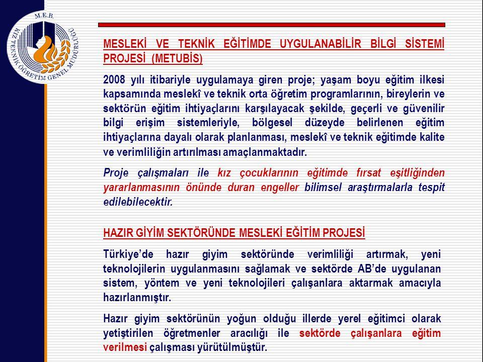 HAZIR GİYİM SEKTÖRÜNDE MESLEKİ EĞİTİM PROJESİ Türkiye'de hazır giyim sektöründe verimliliği artırmak, yeni teknolojilerin uygulanmasını sağlamak ve sektörde AB'de uygulanan sistem, yöntem ve yeni teknolojileri çalışanlara aktarmak amacıyla hazırlanmıştır.