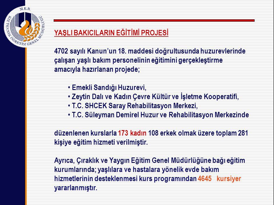 YAŞLI BAKICILARIN EĞİTİMİ PROJESİ 4702 sayılı Kanun'un 18.