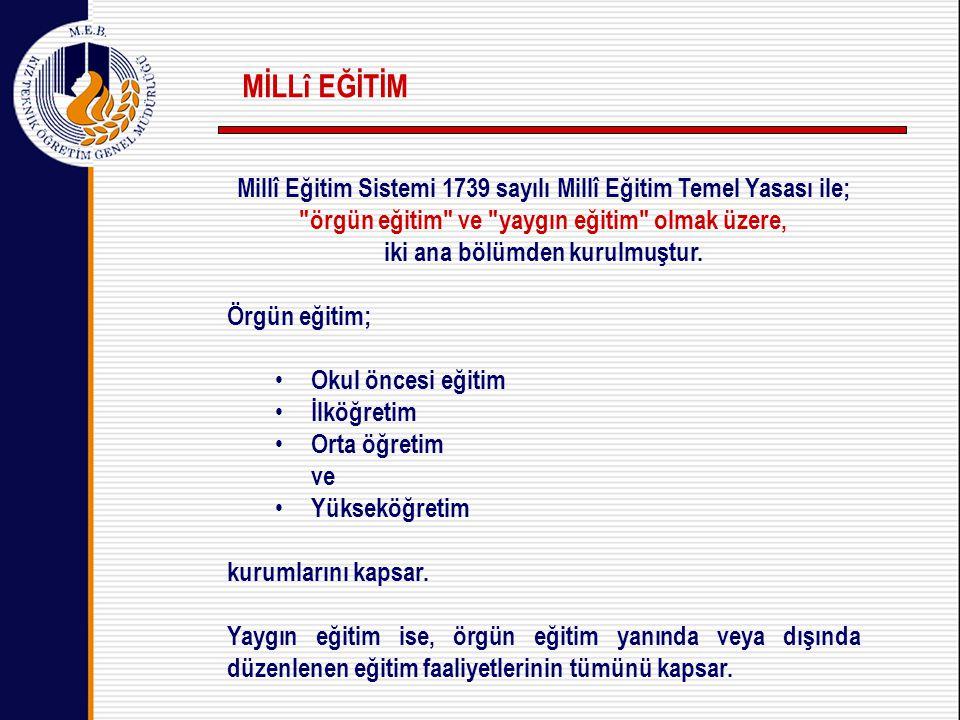 Millî Eğitim Sistemi 1739 sayılı Millî Eğitim Temel Yasası ile; örgün eğitim ve yaygın eğitim olmak üzere, iki ana bölümden kurulmuştur.