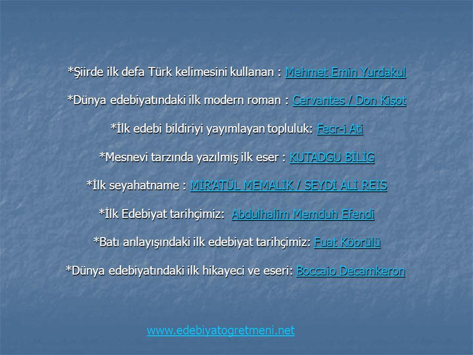 *Şiirde ilk defa Türk kelimesini kullanan : Mehmet Emin Yurdakul Mehmet Emin YurdakulMehmet Emin Yurdakul *Dünya edebiyatındaki ilk modern roman : Cer
