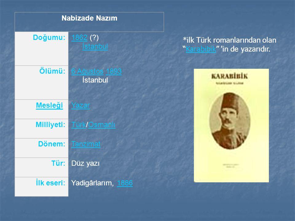 Nabizade Nazım Doğumu:18621862 (?) İstanbul İstanbul Ölümü:6 Ağustos6 Ağustos 1893 İstanbul1893 MesleğiMesleği:Yazar Milliyeti:TürkTürk/OsmanlıOsmanlı