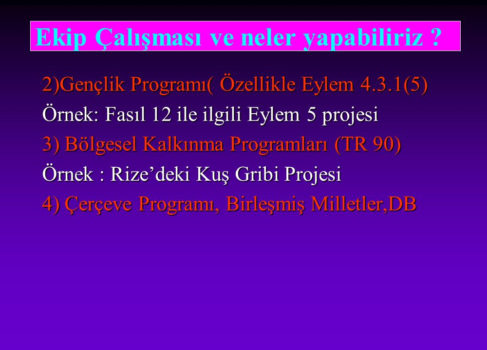 2)Gençlik Programı( Özellikle Eylem 4.3.1(5) Örnek: Fasıl 12 ile ilgili Eylem 5 projesi 3) Bölgesel Kalkınma Programları (TR 90) Örnek : Rize'deki Kuş Gribi Projesi 4) Çerçeve Programı, Birleşmiş Milletler,DB Ekip Çalışması ve neler yapabiliriz ?
