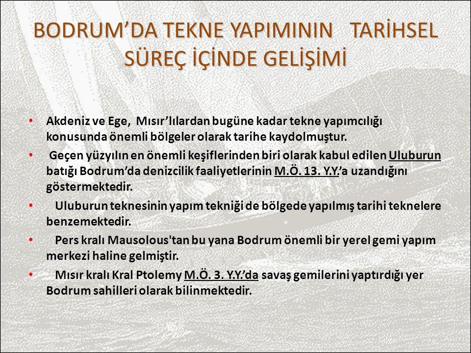 Bodrum tersaneleri Karya ve Likyalılara, daha sonraları Roma ve Osmanlılara gemi ve tekne üretmiştir.