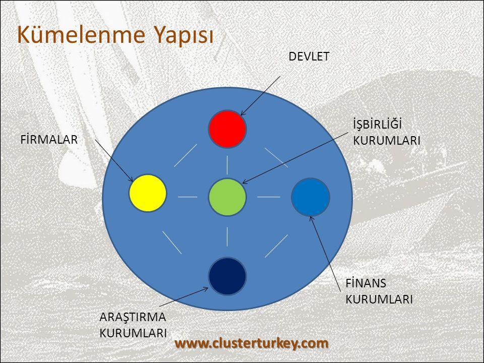 DEVLET FİNANS KURUMLARI FİRMALAR ARAŞTIRMA KURUMLARI İŞBİRLİĞİ KURUMLARI Kümelenme Yapısı www.clusterturkey.com